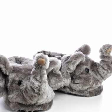 Meisjes dieren olifant pantoffels/sloffen voor volwassenen maat 45/47