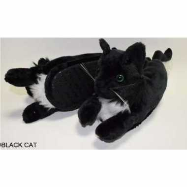 Meisjes dieren pantoffels/sloffen zwarte kat/poes voor kinderen maat 34 36