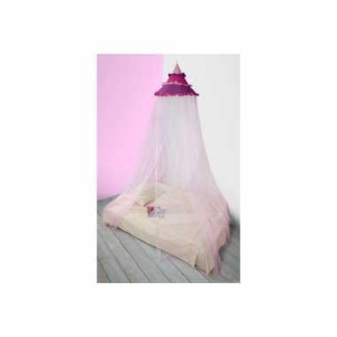Meisjes eenpersoons ronde klamboe roze tinten