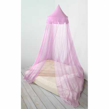 Meisjes eenpersoons / tweepersoons ronde klamboe licht roze