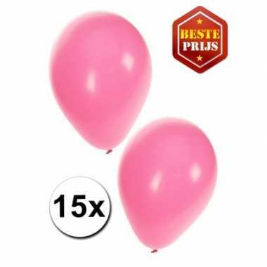 Meisjes feest ballonnen licht roze 15