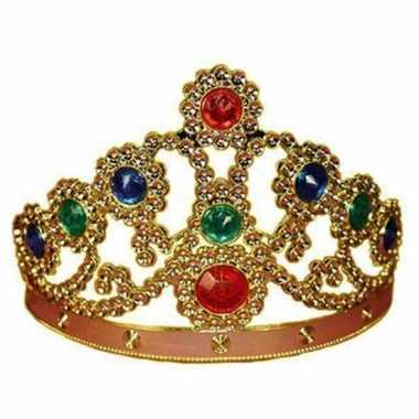 Meisjes feestartikelen gouden kroon met gekleurde stenen