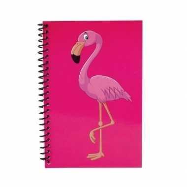 Meisjes flamingo notitieboekjes/schriftjes roze 18cm