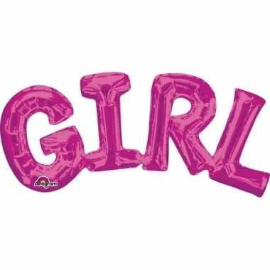 Meisjes folie ballon girl roze 55 cm