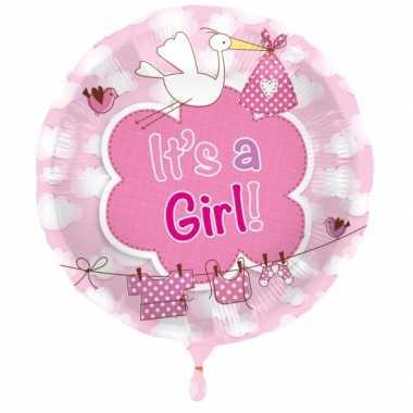 Meisjes folie ballon meisje geboren