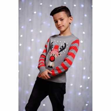 Meisjes foute kerst print trui grijs rendier voor kinderen