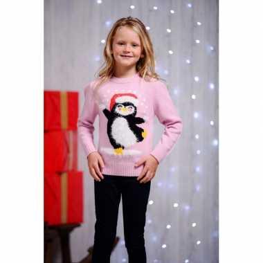 Meisjes foute kerst print trui roze voor kinderen