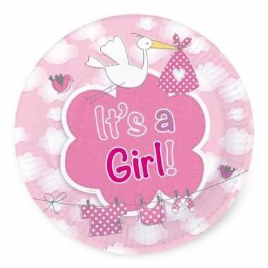 Meisjes gebaksbordjes geboorte meisje 8 stuks