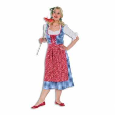 Meisjes geblokte lange tiroler dames jurk