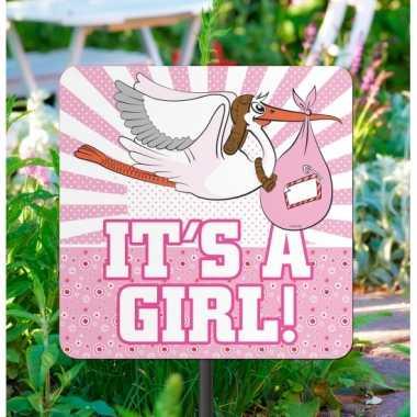 Meisjes geboorte decoratie tuinbord meisje