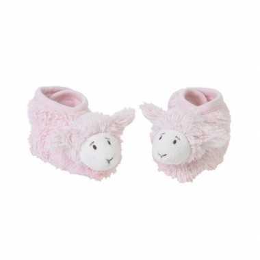Meisjes geboorte kado roze lammetjes slofjes