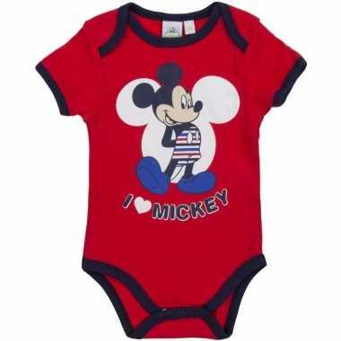 Meisjes geboorte kadootjes mickey romper rood