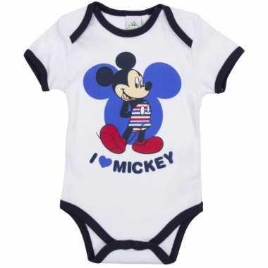 Meisjes geboorte kadootjes mickey romper wit