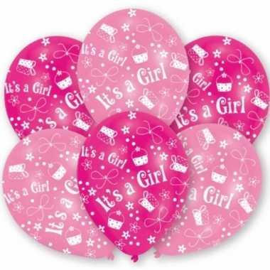 Meisjes geboorte meisje ballonnen 6 stuks