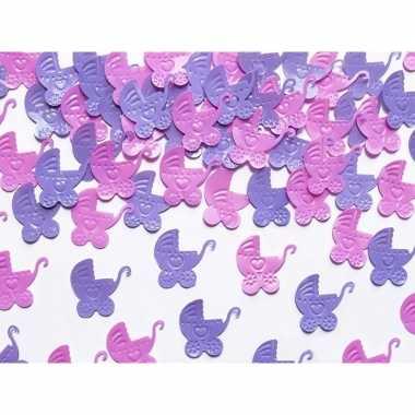 Meisjes geboorte versiering kinderwagens confetti