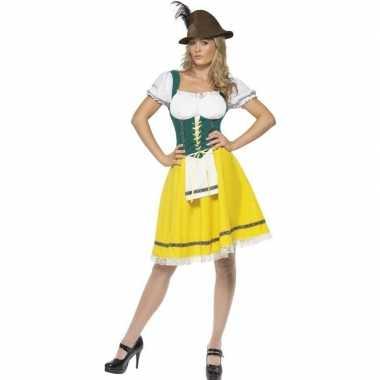 Meisjes geel/groen dirndl jurkje voor dames