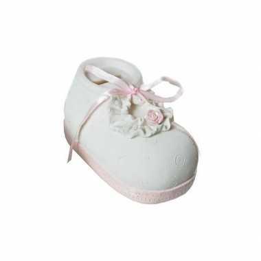 Meisjes geld spaarpot babyschoen roze