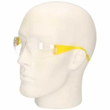 Meisjes gele vuurwerkbril/veiligheidsbril voor kinderen
