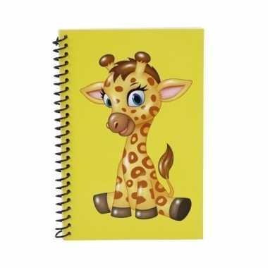 Meisjes giraffe kinder/peuters schriften geel 18cm