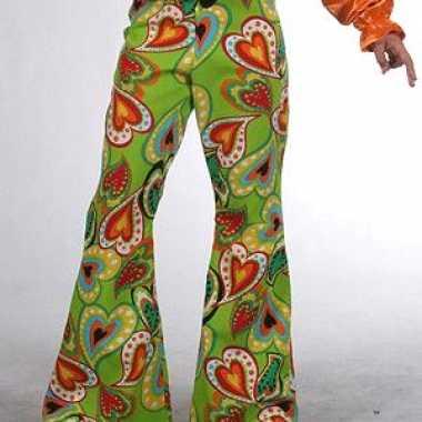 Meisjes groene kinderbroek hippie hartjes