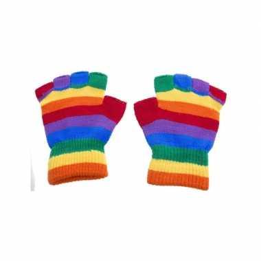 Meisjes handschoenen zonder vingers regenboog one size