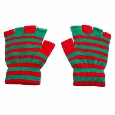 Meisjes handschoenen zonder vingers rood groen one size