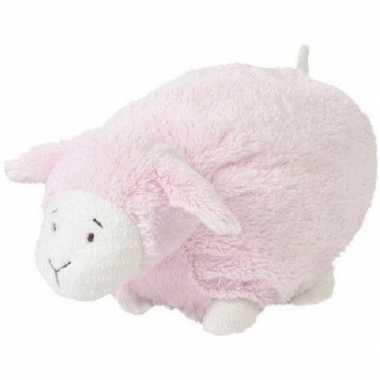 Meisjes happy horse roze liggend/staand pluche lammetje knuffel 26 cm
