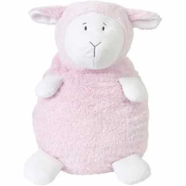 Meisjes happy horse roze zittend pluche lammetje knuffel 26 cm