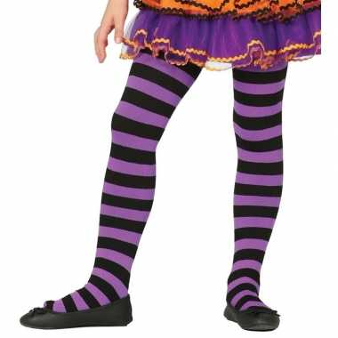 Meisjes heksen verkleedaccessoires panty maillot zwart/paars voor mei
