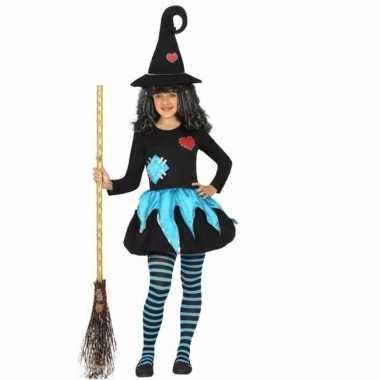 Meisjes heksen verkleedjurk zwart/blauw voor kids