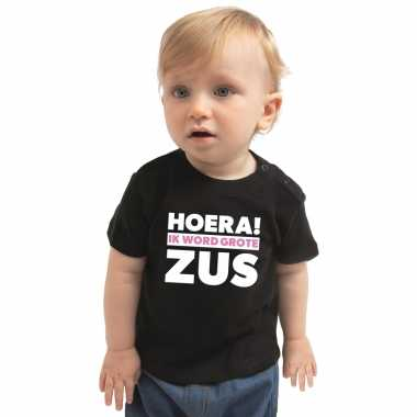 Meisjes hoera ik word grote zus cadeau t shirt zwart voor peuter/ mei