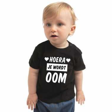 Meisjes hoera je wordt oom cadeau t shirt zwart baby jongen/meisje