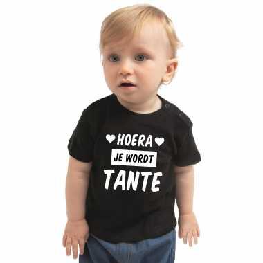 Meisjes hoera je wordt tante cadeau t shirt zwart baby jongen/meisje