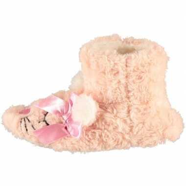 Meisjes hoge dieren pantoffels/sloffen roze muis