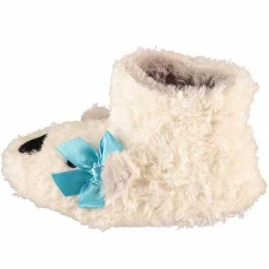 Meisjes hoge dieren pantoffels/sloffen wit ijsbeer