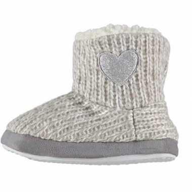 Meisjes hoge sloffen/pantoffels met hart grijs maat 25 26