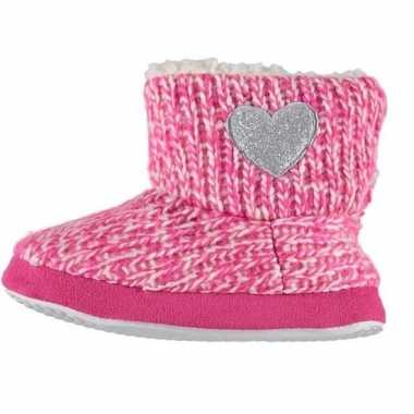 Meisjes hoge sloffen/pantoffels met hart roze maat 23 24