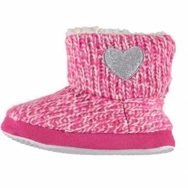 Meisjes hoge sloffen/pantoffels met hart roze maat 25 26