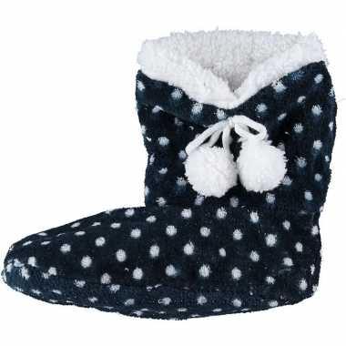 Meisjes hoge sloffen/pantoffels stippenprint blauw maat 34 36