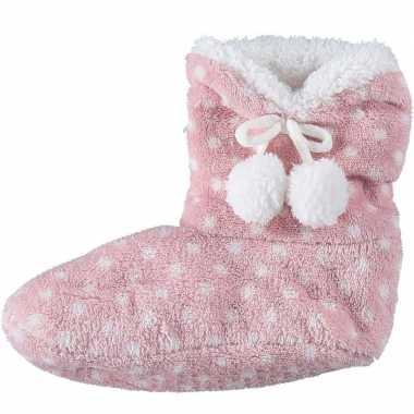 Meisjes hoge sloffen/pantoffels stippenprint roze mt 34 36