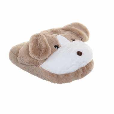 Meisjes honden voetenwarmer slof beige voor kinderen/volwassenen