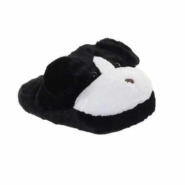 Meisjes honden voetenwarmer slof zwart voor kinderen/volwassenen