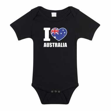 Meisjes i love australia baby rompertje zwart australie jongen/meisje
