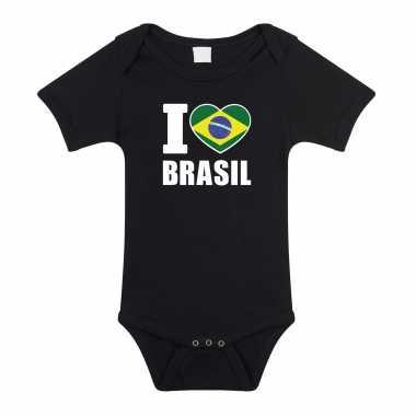 Meisjes i love brasil baby rompertje zwart brazilie jongen meisje