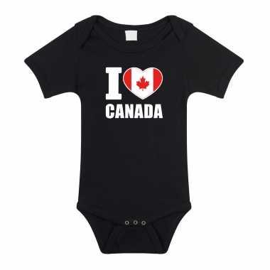 Meisjes i love canada baby rompertje zwart jongen/meisje