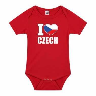 Meisjes i love czech baby rompertje rood tsjechie jongen/meisje