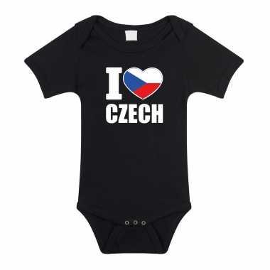 Meisjes i love czech baby rompertje zwart tsjechie jongen/meisje