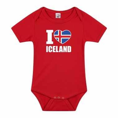 Meisjes i love iceland baby rompertje rood ijsland jongen/meisje