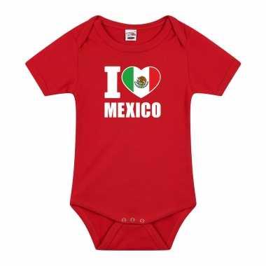 Meisjes i love mexico baby rompertje rood jongen/meisje