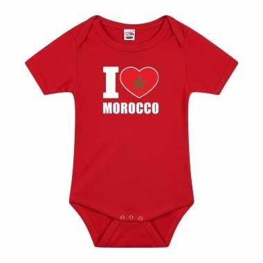 Meisjes i love morocco baby rompertje rood marokko jongen/meisje